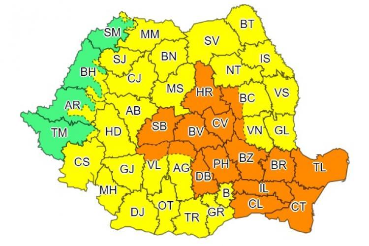 Aproape toată țara sub cod galben și portocaliu de furtuni! Urmează noi inundații la Cluj?