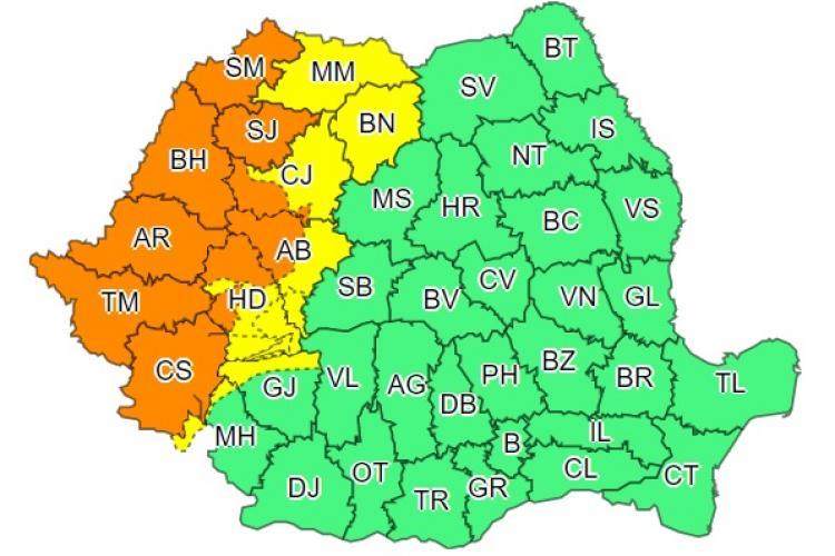 Cod portocaliu de vijelii în Cluj și alte 8 județe! Ce anunță meteorologii