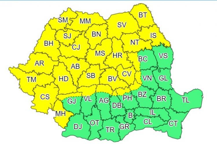 Cod galben de furtuni în mai mult de jumătate din țară. Ce anunță meteorologii