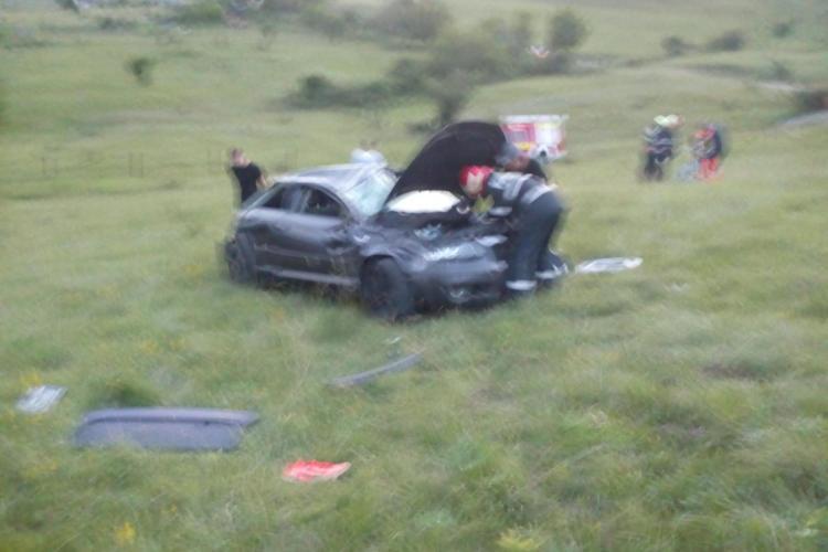 Mașină răsturnată pe Centura Grigorescu - Florești - FOTO