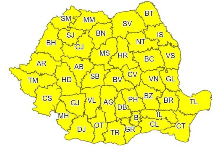 Toată țara sub cod galben de ploi la început de săptămână! Ce anunță ANM