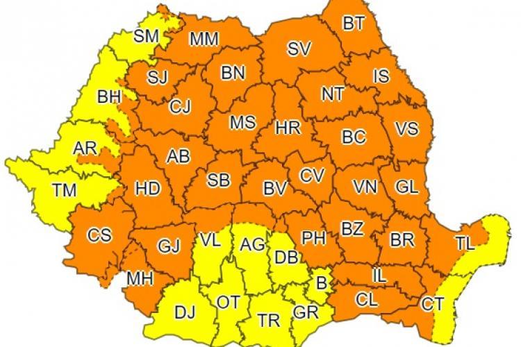 Clujul din nou sub cod portocaliu de furtuni! Se anunță ploi în toată țara