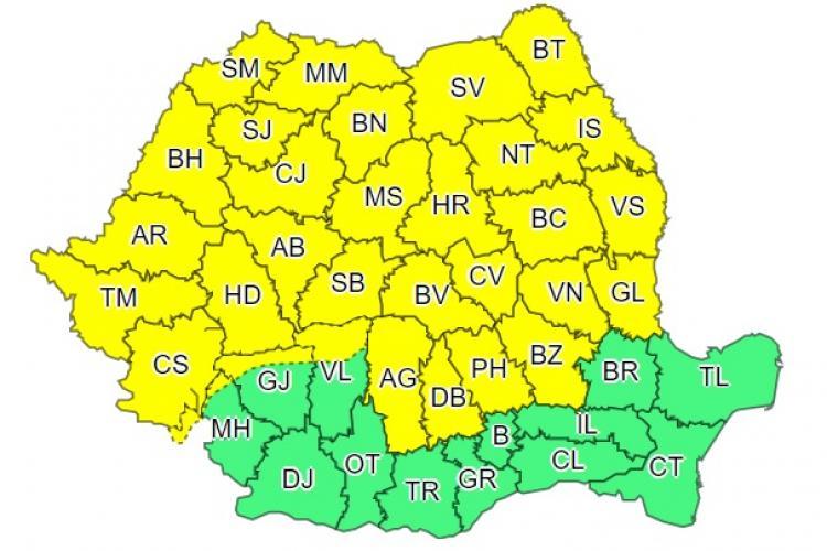 Cod galben de vreme instabilă și discomnfort termic în aproape toată țara