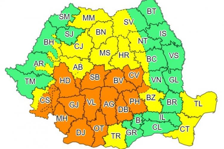 Cod galben și portocaliu de ploi în aproape toată țara. Clujul este afectat
