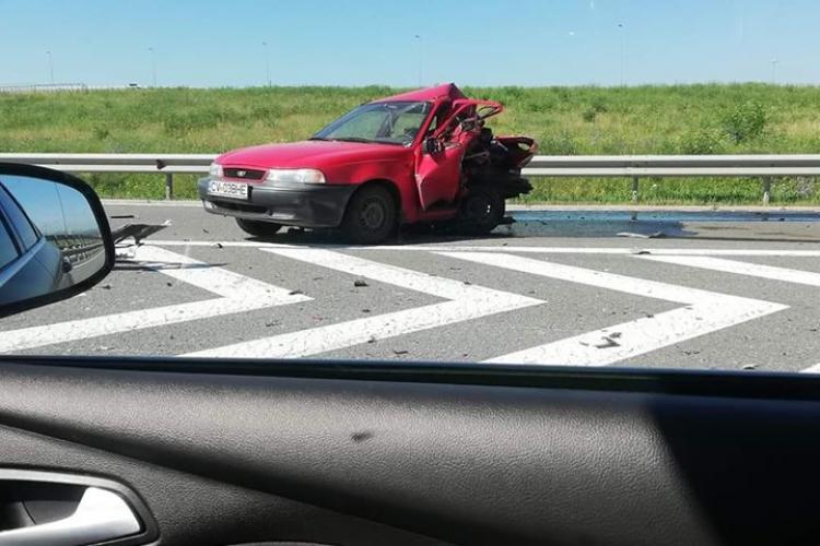 Accident MORTAL pe autostrada Transilvania, la Turda! O persoană a murit, iar alta a fost dusă cu elicopterul la spital - FOTO