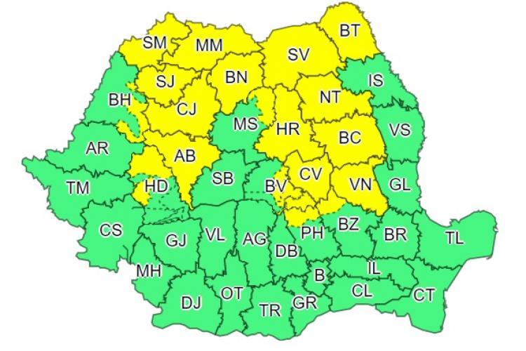 Cod galben de vreme rea în Cluj și mai multe județe din țară. Ce anunță ANM