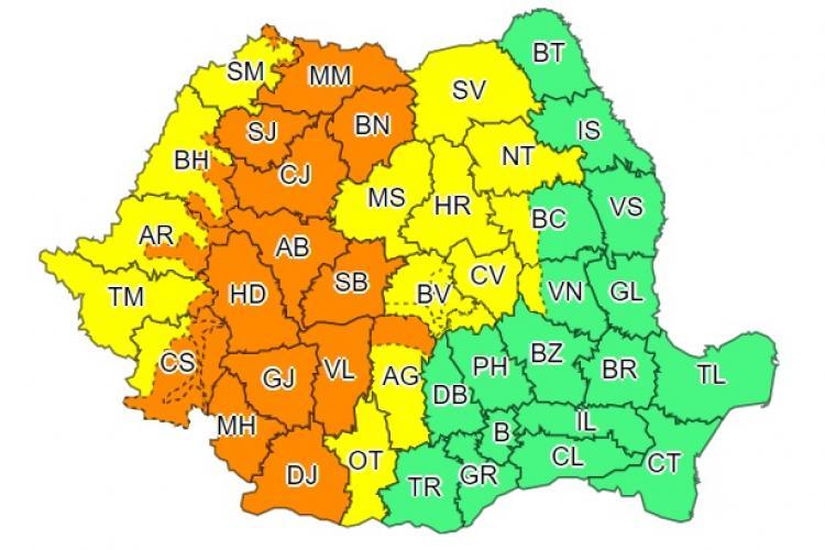 Clujul sub cod portocaliu de furtuni. Ce anunță ANM