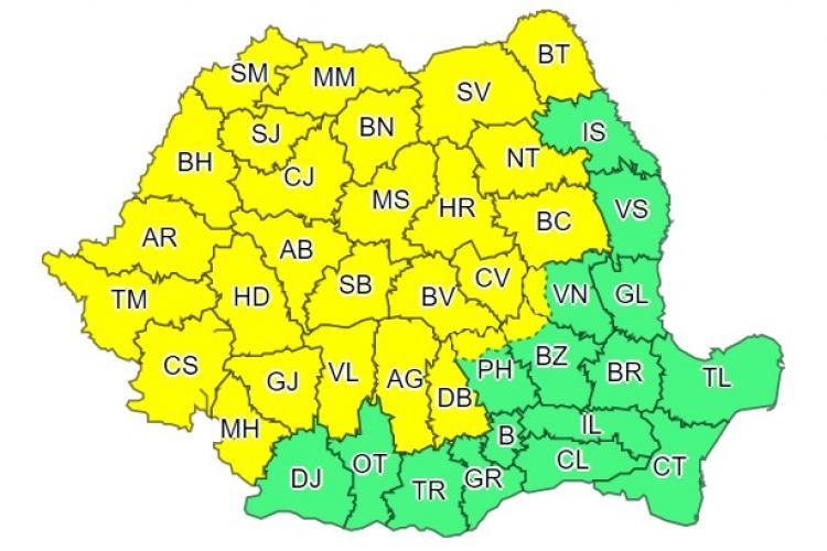 Cod galben de vreme rea în mai bine de jumătate din țară. Clujul este afectat