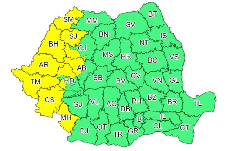 Cod galben de instabilitate atmosferică. Clujul este printre județele afectate