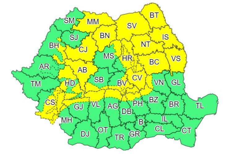 Cod galben de instabilitate atmosferică în mai multe județe din țară. Clujul este afectat
