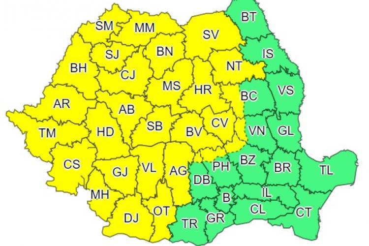 Cod galben de vreme instabilă în weekend, în aproape toată țara. Se anunță ploi, dar și caniculă