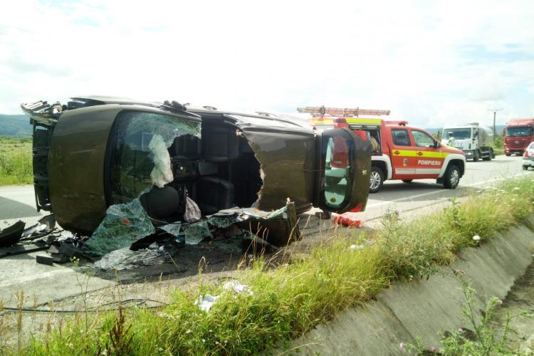 Ziua accidentelor la Cluj! O femeie a rămas încarcerată în urma unui accident la Cășeiu FOTO/VIDEO