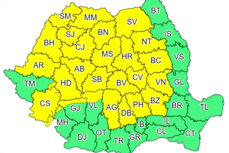 Cod galben de ploi și vreme rea mai mult de jumătate din țară. Clujul este afectat