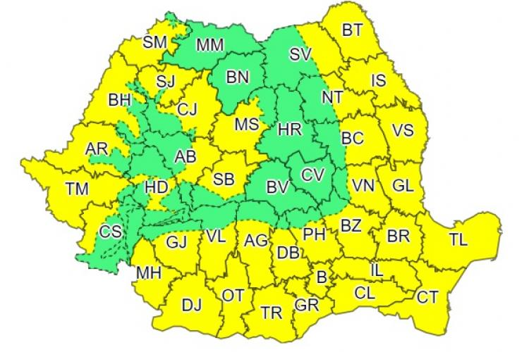 Cod GALBEN de caniculă în aproape toată țara! Clujul e afectat