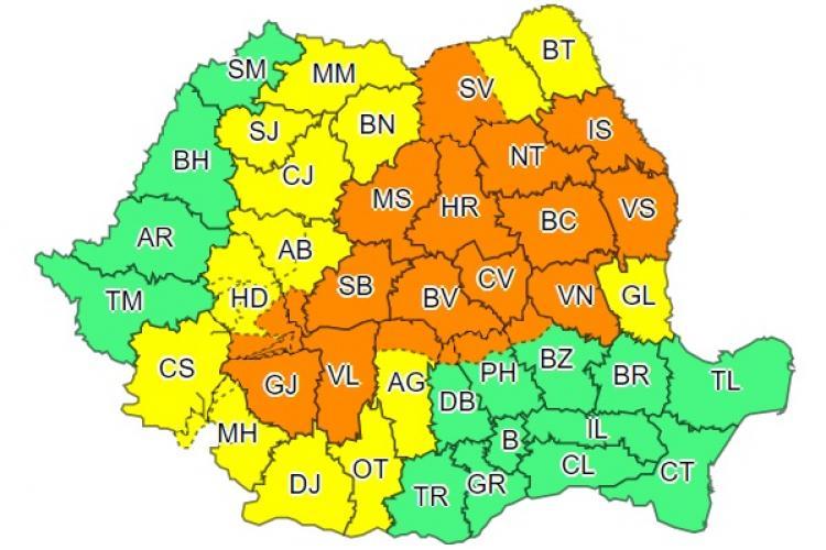 Cod galben și potrocaliu în aproape toată țara! Clujul este afectat