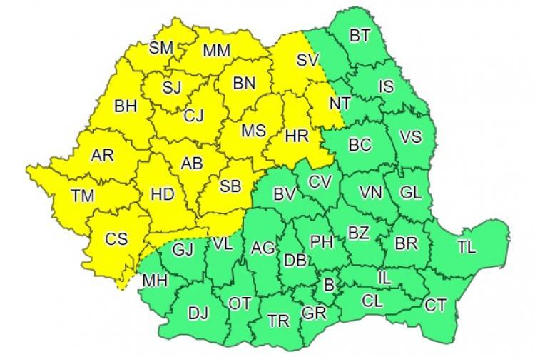 Avertisment de furtuni în Cluj și aproape jumătate de țară. Când intră în vigoare