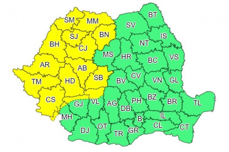 Clujul din nou sub cod galben de ploi. Ce anunță meteorologii