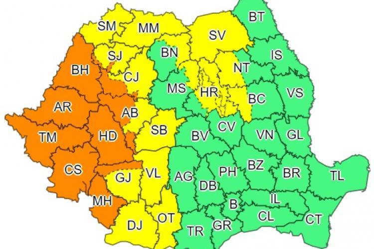 Cod portocaliu de furtuni în Cluj și mai multe județe din țară. Ce anunță ANM