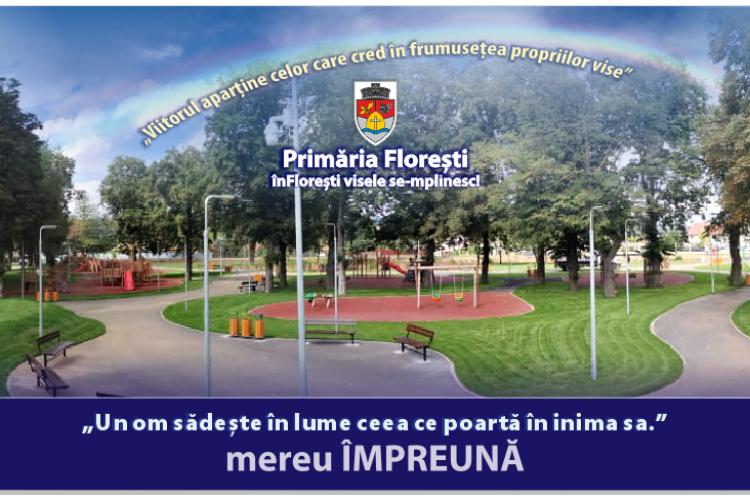 Parcul din Florești va fi inaugurat miercuri, de la ora 10.00. Va avea WIFI gratuit și sistem smart de administrare