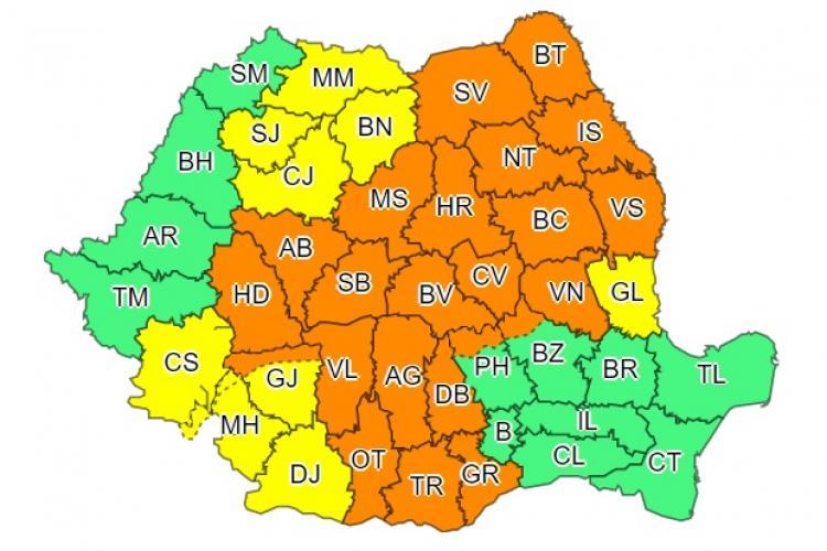 Aproape toată țara sub cod galben și portocaliu de vreme rea. Ce anunță ANM