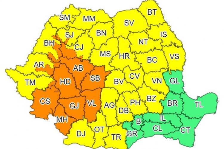 Cod portocaliu de furtuni la Cluj. Ce anunță meteorologii