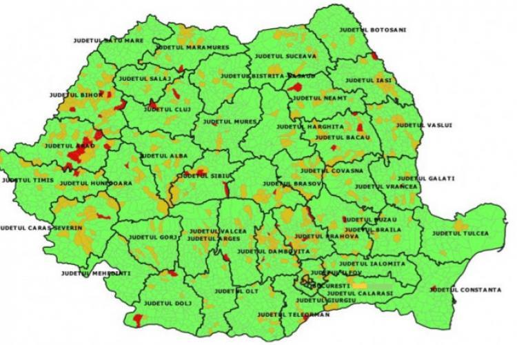 Harta infectărilor cu COVID - 19. Clujul are localități în care se aplică scenariul ROȘU pentru începerea școlii