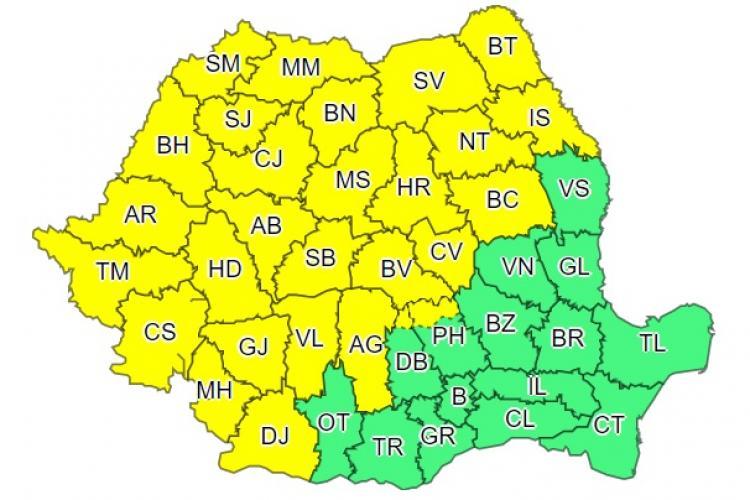 Cod galben de ploi și vânt puternic în aproape toată țara! Clujul este afectat