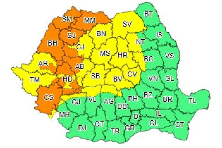 COD PORTOCALIU de furtuni la Cluj! Ce anunță ANM