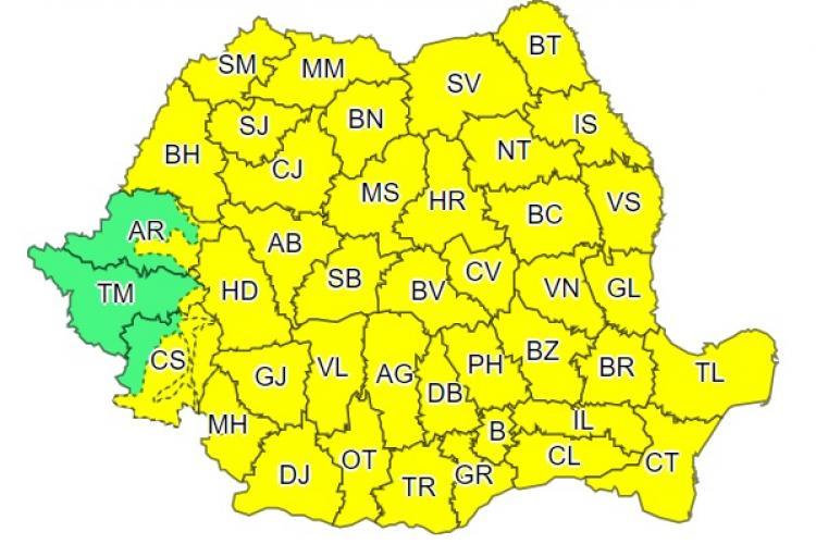 Cod galben de vreme rea în toată țara! Se anunță ploi puternice, vijelii și scăderi bruște ale temeperaturilor