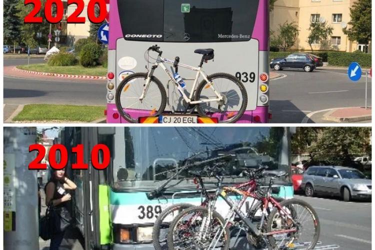 Inovația lui Boc, făcută de Apostu acum 10 ani: Suporturi pentru biciclete pe mijloacele de transport în comun - FOTO