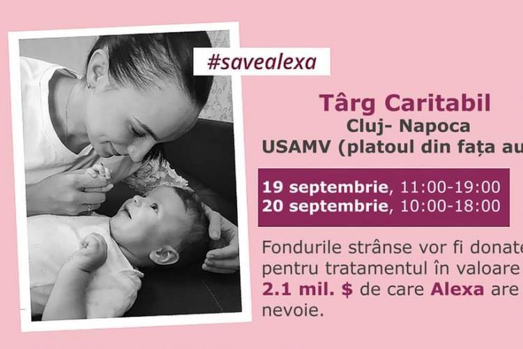 Târg caritabil la USAMV Cluj-Napoca, pentru salvarea unei fetițe de 11 luni care are nevoie de un vaccin de 2 milion de dolari