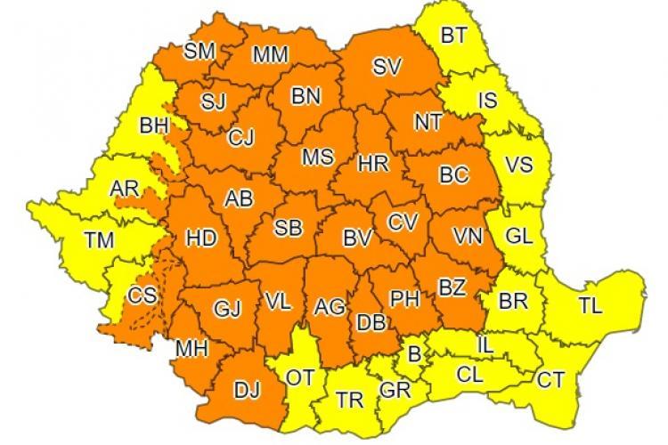 Toată țara sub cod galben și portocaliu de ploi și vreme rea! Ce anunță ANM