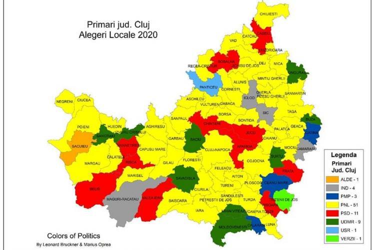 Harta politică a Clujului este galbenă. USR și Verzi au câștigat câte o primărie  - FOTO