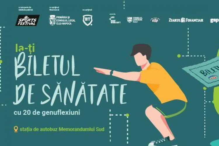 """""""Stație sportivă"""" în centrul Clujului. Cei care fac 20 de genoflexiuni primesc un bilet de autobuz gratuit VIDEO"""
