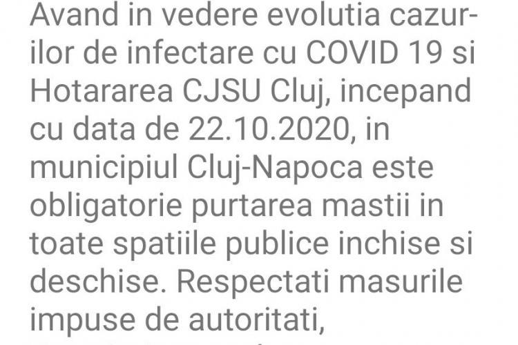 Atenție! De astăzi, în Cluj-Napoca este obligatoriu să purtați mască atât in spațiile publice închise, cât și în cele deschise