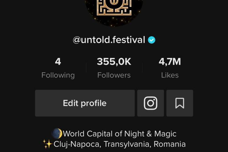 UNTOLD, cel mai urmărit brand românesc pe TikTok în întreaga lume