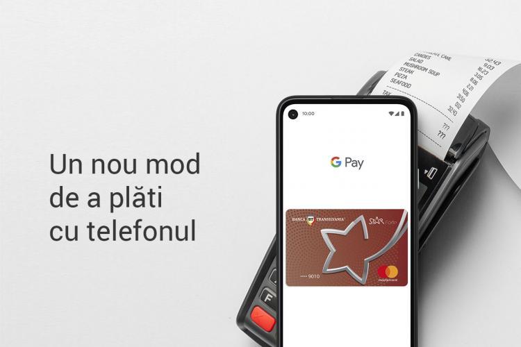 Clienții Băncii Transilvania pot plăti și pot scoate bani de la bancomat cu telefonul, folosind Google Pay