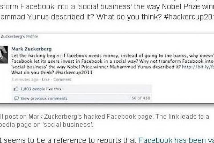 Contul de Facebook al lui Mark Zuckerberg, spart de hackeri!