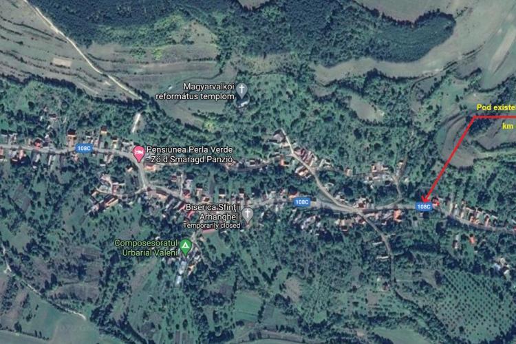 CLUJ: Se reconstruiește podul care traversează Valea Valcău. Cât va costa investiția