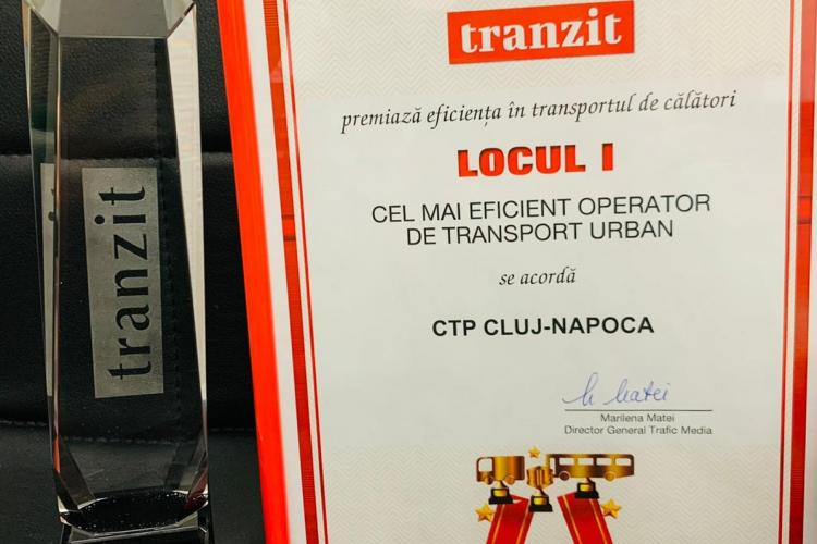 """CTP Cluj-Napoca desemnată din nou drept """"Cea mai performantă companie de transport public de persoane din România"""""""