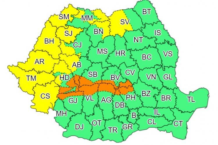 Cod galben și portocaliu de vijelii în mai multe județe! Clujul este afectat