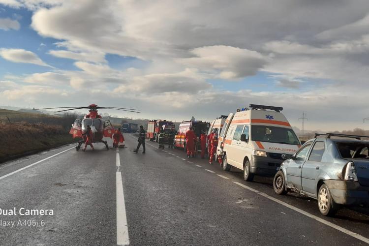 Accident grav lângă Huedin. A intervenit elicopterul SMURD - VIDEO