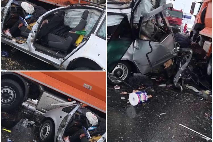 Accident cu trei morți la Sibiu, pe autostradă. Un autoturism a intrat sub mașina de deszăpeziri - VIDEO și FOTO