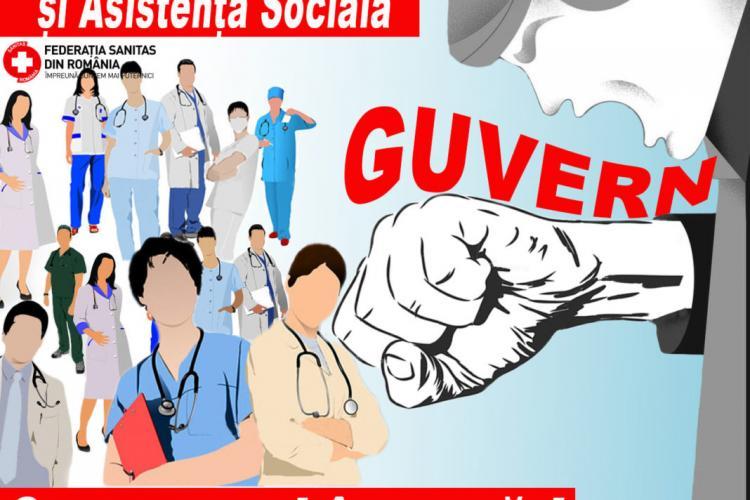 Sanitas pichetează Prefectura Cluj. Sindicaliștii din sănătate cer majorarea salariilor