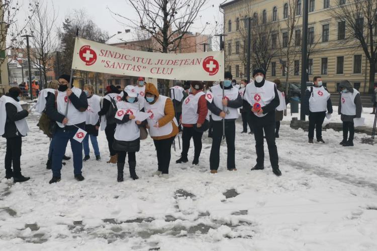 30 de sindicaliști din sănătate protestează pentru salarii în fața Prefecturii Cluj - VIDEO