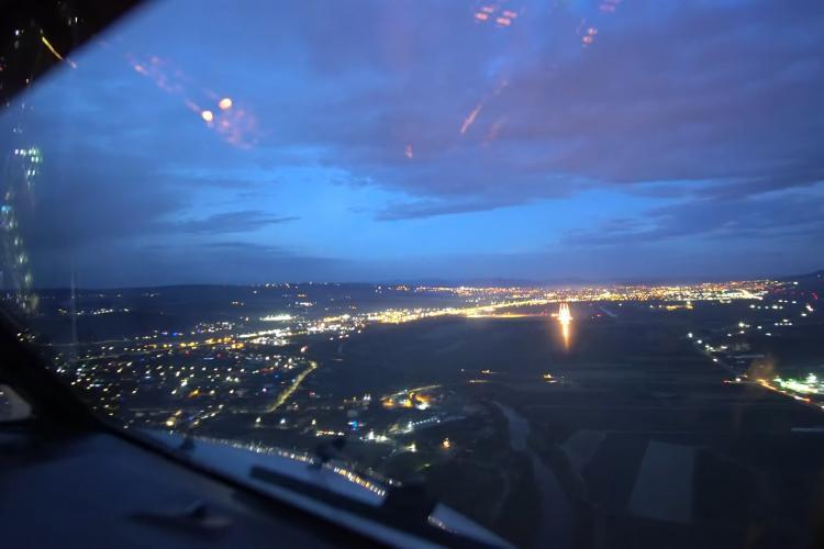 Pilotul unui Boeing 737 filmează aterizarea de pe Aeroportul Internațional Cluj - VIDEO