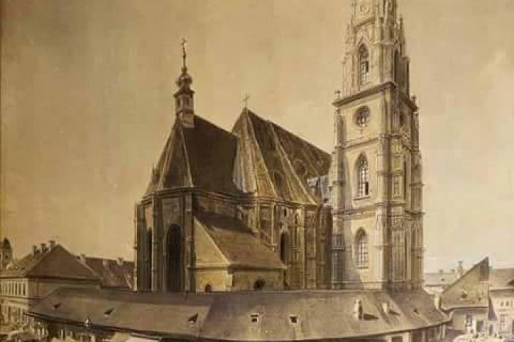 Imagine rarisimă cu Piața Unirii. În jurul Bisericii Sfântul Mihail erau manufacturi - FOTO