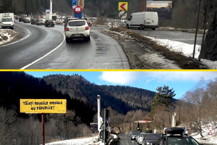 Panou pe Valea Prahovei: TĂIAȚI PENSIILE SPECIALE, NU PĂDURILE!