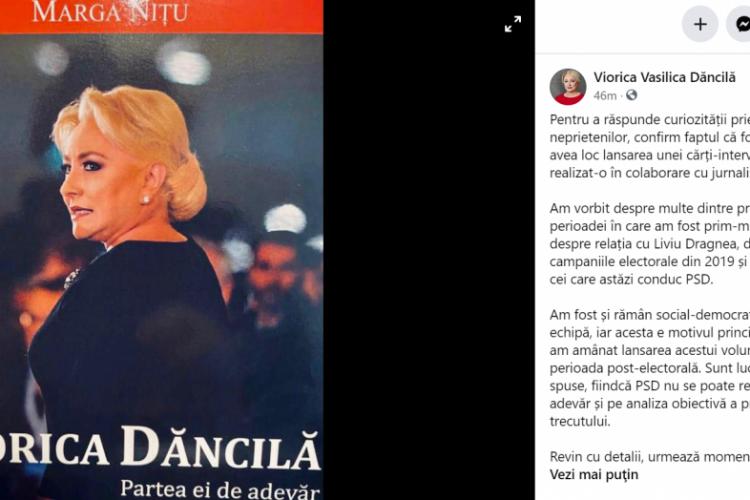 """Viorica Dăncilă va publica o carte despre relația cu Dragnea și experiența sa ca prim-ministru al României: """"Urmează momente interesante"""""""