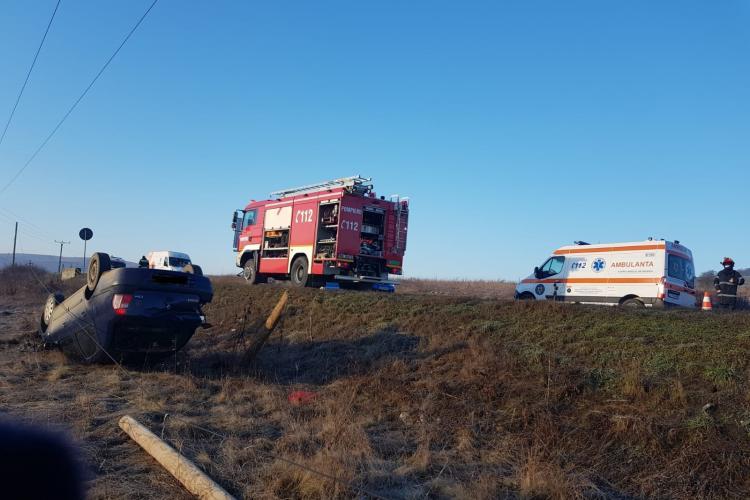 Mașină răsturnată la Hereclean, în Sălaj